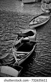 Black and white photography. Boats on the river in Richmond, London.