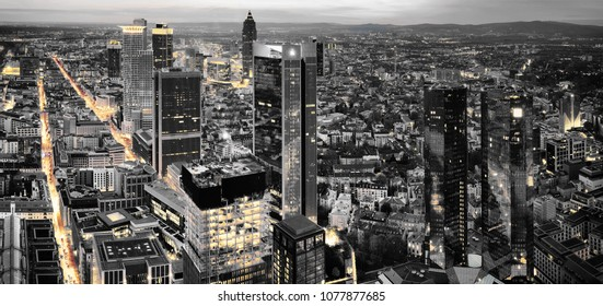 Black and white photography of Frankfurt. High resolution aerial panoramic view of Frankfurt, Germany at dusk.