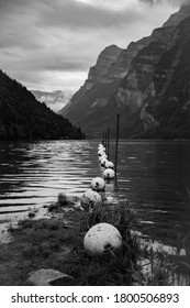 Black and white photography, Lake in the Glarner Swissalps