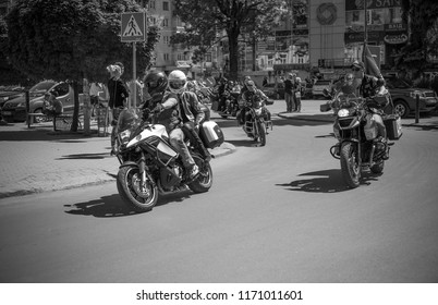 Black and white photos of bikers who are preparing for the parade in honor of opening the season. Ukraine, Ivano-Frankivsk, 12 May, 2018. Opening of the biker season.