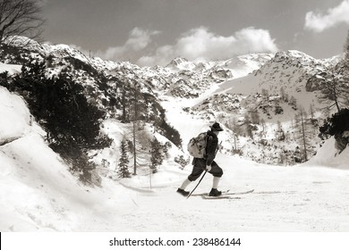 Black and white photos, Vintage photos old skier with traditional old wooden skis