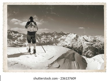 Black and white photos, Vintage photo with old skier with traditional old wooden skis