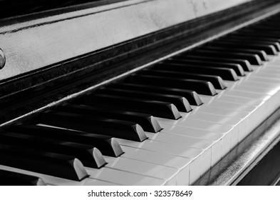 black and white piano
