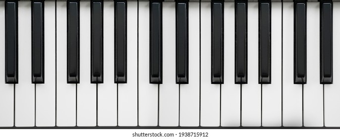 Black and White Piano Keys Taken From Above as a Flat Lay Image