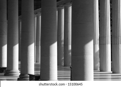 Black and white picture of the columns from the Ancient Agora Museum in Athens