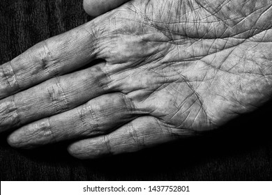Black and white picture of elderly male hands on a dark background. Detail of the palm of the hand.
