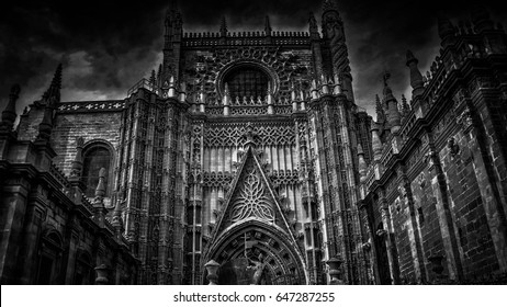 black and white picture of giralda , taken in seville ,spain