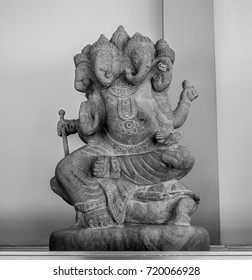 Black and white picture  god statue.
