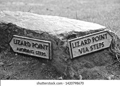 Black and white picture of navigational signs to Lizard point, Cornwall