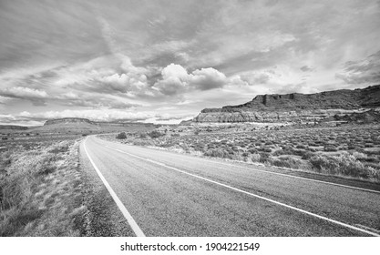Black and white picture of scenic road in Canyonlands National Park, Utah, USA.