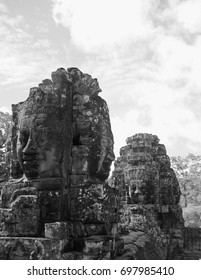 black and white picture stone murals  and sculptures inAngkor Wat,Combodia