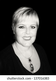 Black and White Picture of Stylish Middle Aged Woman