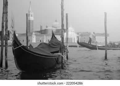 Black and white picture of two gondolas in Venice, Italy