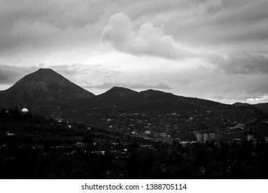 Black and white picture with view to Manquehue hill of Santiago the Chile.