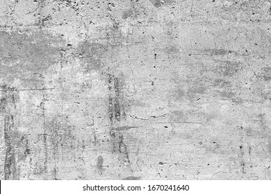 Black white plaster on cement gypsum painted wall. Calm exterior city facade. Coarse grunge, worn blocks background. Uneven overlay surface of stone structure.Retro washed shabby texture for 3d design