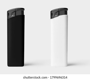 Black and white plastic lighter on white background