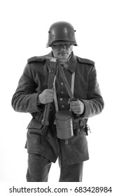 Black and white portrait Actor in the form of a German infantryman from the times of the First World War