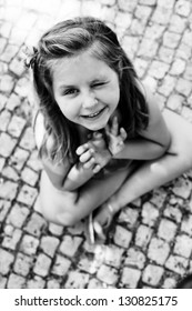 Black and white portrait of a beautiful child, Portugal, calzada