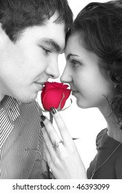 Black and white portrait of beautiful couple with red rose