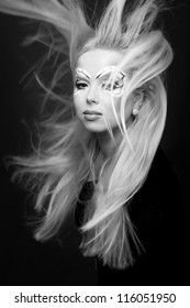 black and white portrait of Beautiful fantasy eye face-art close-up