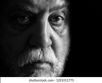 Black and white Portrait of Caucasian man with a mustache and beard
