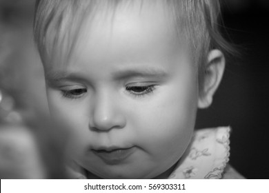 black and white portrait of a child