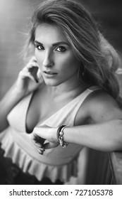 Black and white portrait of a female model