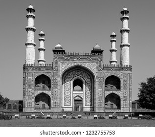 Black and white portrait image of South Gate entrance to the tomb of great Mughal Emperor, Jalal-ud-din Muhammad Akbar, at Sikandra in Agra, Uttar Pradesh, India