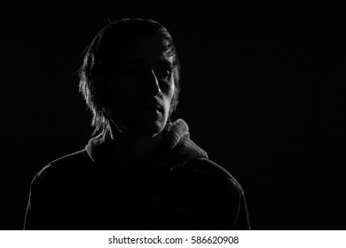 black and white portrait of a man the silhouette