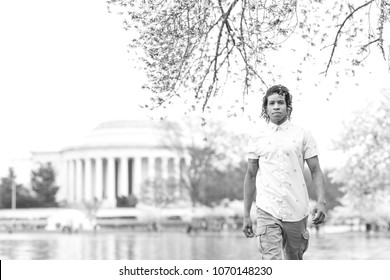 Black and White portrait of a man in Washington DC Peak Bloom of the Cherry blossoms
