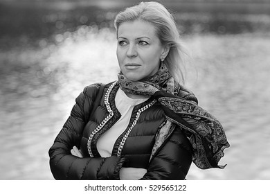 black and white portrait of middle-aged women autumn