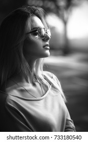 Black and white portrait with sunglasses