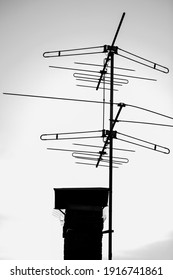 Black and white portrait of tv cable antenna