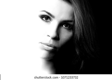 black and white portrait of woman, high contrast abstraction