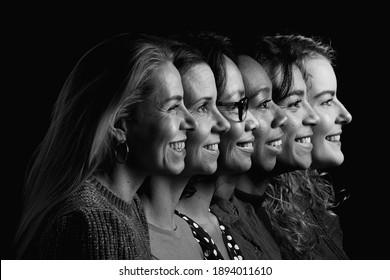 Schwarz-Weiß-Porträts verschiedener Menschen