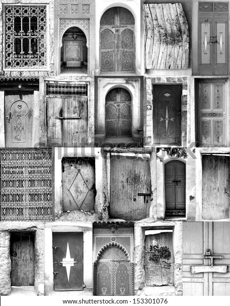 b89e501d71ea Black White Poster Old Moroccan Doorways Stock Photo (Edit Now ...