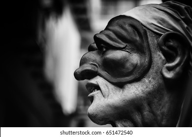 Black and white  Pulcinella, traditional mask of Naples, symbol of tradition of south Italy. A travel concept of Italy