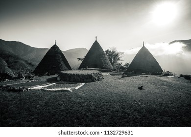 Black and White Pyramid Shaped Wae Rebo Traditional Village of Flores Indonesia