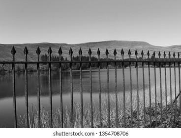 Black and white railings