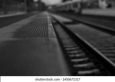 Black and White Rails at Trainstation
