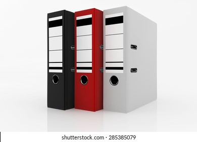 Black, white and red folders on white background - database storage concept.