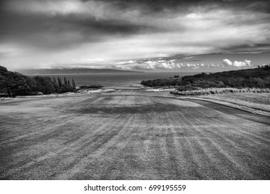 Black and White Rendering of Famous Golf Course Hole Kapalua Hawaii