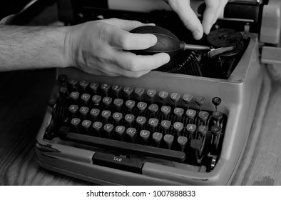 black and white retro typewriter macro english letter