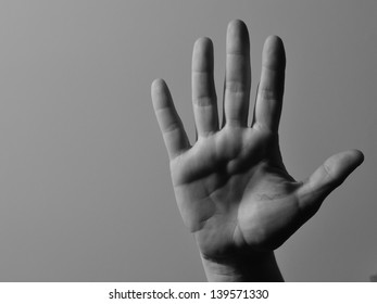 Black and white right hand