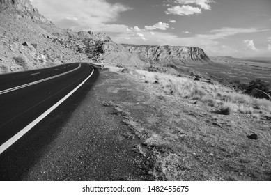 Black And White Road In The Desert