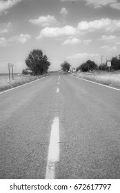 black and white roadway