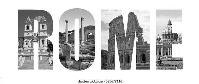 Black and white Rome landmarks letters