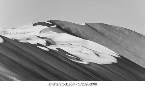 black and white Sand Dunes In Liwa desert abu dhabi , united arab emirates
