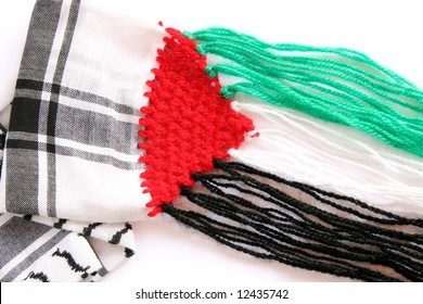 Black and white scarf with Palestinian flag