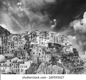 Black and white scenic view of Cinque Terre. Five Lands, Italy.